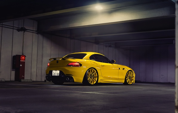 Picture tuning, Asia, Japan, bmw, Parking, drives, yellow, Tokyo, Vossen Precision Series