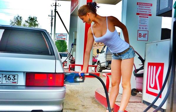 Picture chest, girl, gun, feet, VAZ, gas station, gasoline, 163, fuel