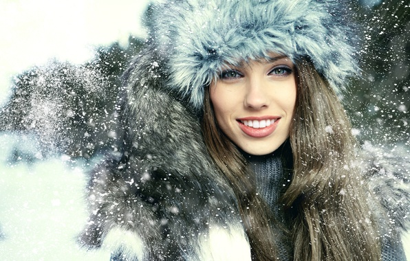 Picture look, girl, snow, smile, hat, brown hair