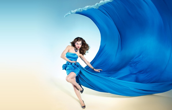 Picture girl, shoes, Milla Jovovich, blue dress, red lips, Milla Jovovich, dress wave