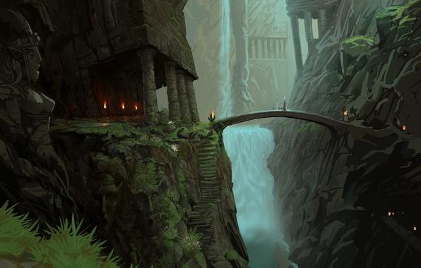 Picture landscape, mountains, bridge, lights, waterfall, art, ladder, temple, steps, statue