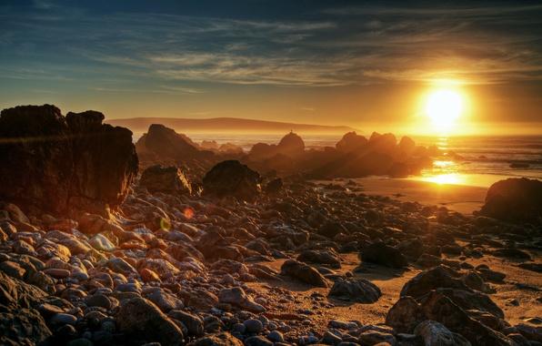 Picture sea, the sun, sunset, nature, stones, photo, dawn, shore