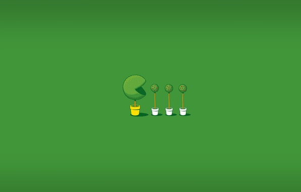 Picture greens, green, the game, minimalism, the trick, pots, the bushes, pac-man, pacman, animation, boxwood, Glen …
