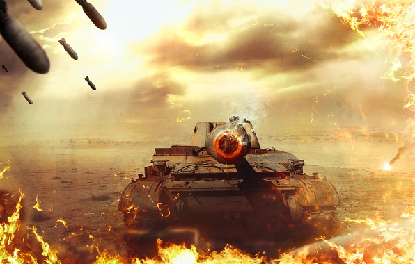 Picture fire, war, tank, World of Tanks