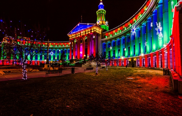 Picture decoration, night, the city, lights, new year, Christmas, Denver