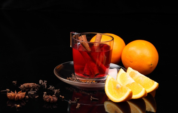 Picture table, tea, oranges, Cup, drink, cinnamon, carnation, slices, saucer, star anise, appetizing