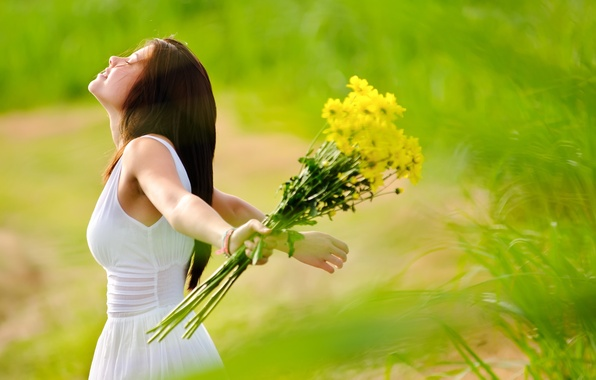 Picture greens, field, grass, girl, joy, flowers, freshness, nature, face, smile, background, widescreen, Wallpaper, mood, positive, ...