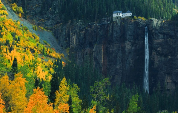 Picture autumn, forest, mountains, nature, house, rocks, waterfall, October