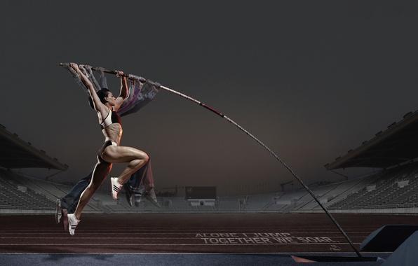 Picture girl, jump, advertising, athlete, Adidas, pole, Pole vault