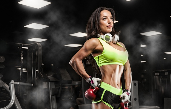 Picture pose, female, fitness, Russian dumbbell, music headphones