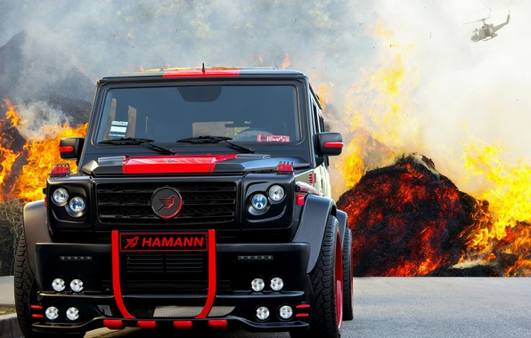 Picture background, tuning, SUV, Hamann, G55 AMG, black and red, Mercedes Benz