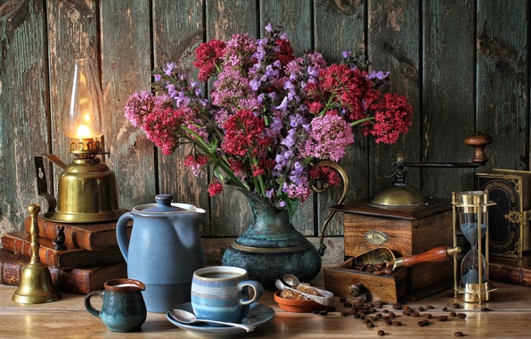 Picture flowers, books, lamp, coffee, bouquet, milk, Cup, still life, bell, hourglass, coffee grinder