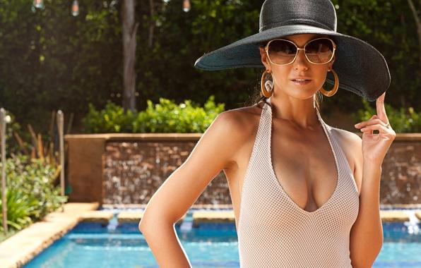 Picture swimsuit, girl, model, actress, glasses, Emmanuelle Chriqui, Emmanuelle Chriqui