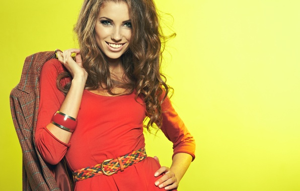 Picture look, girl, yellow, pose, smile, background, red, dress, belt, bracelet, brown hair, Izabela Magician