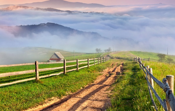 Picture road, grass, mountains, fog, village, landscape, nature, meadows, countryside