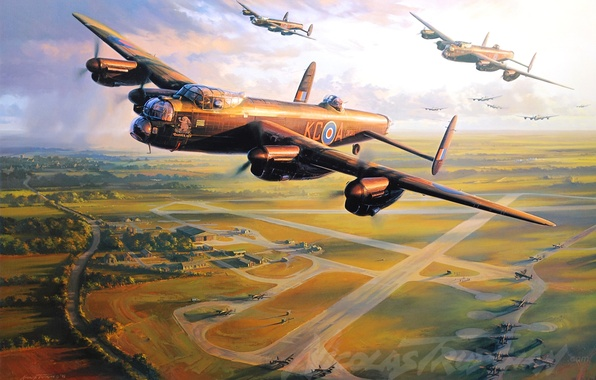 Picture aircraft, war, art, airplane, aviation, ww2, dogfight, avro lancaster