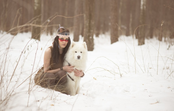 Picture winter, look, girl, snow, face, each, hair, dog, feathers, brunette, paint