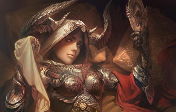 Picture girl, the demon, horns, diablo, art, rpg, demon hunter, hunter