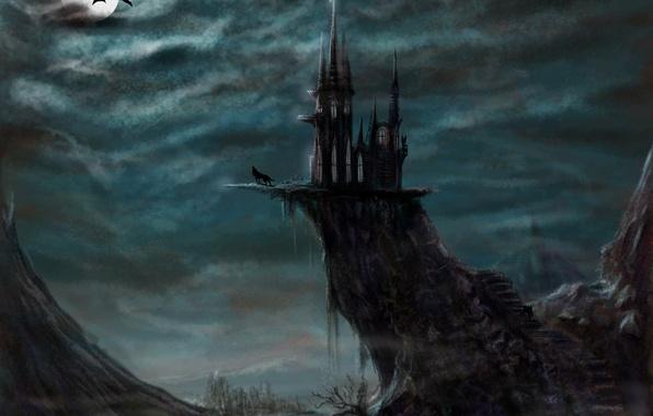 Picture night, fantasy, castle, the moon, wolf, art, evil castle