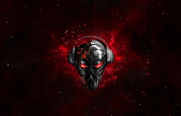 Picture red, skull, headphones