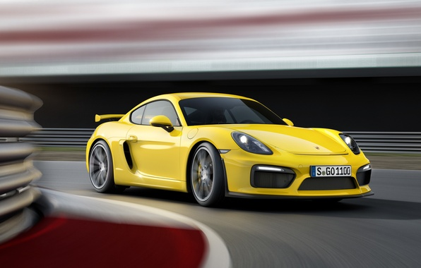 Picture yellow, Porsche, Cayman, Porsche, the front, GT4, Caiman