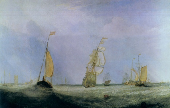 Picture sea, wave, ships, picture, sail, seascape, William Turner, Going to Sea, The City of Utrecht