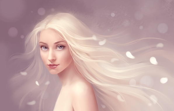 Picture Girl, petals, white hair