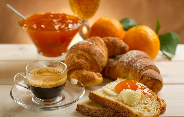Picture leaves, table, coffee, food, oranges, petals, plate, bread, mug, Cup, jam, jam, croissants