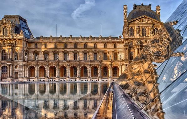 Picture reflection, France, Paris, The Louvre, pyramid, Paris, Museum, architecture, France, Louvre