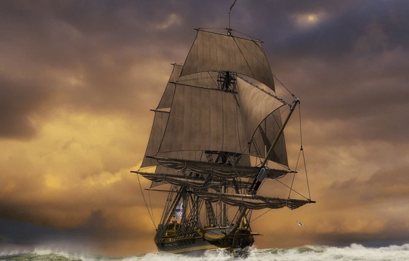 Picture sea, storm, ship, sails, weather