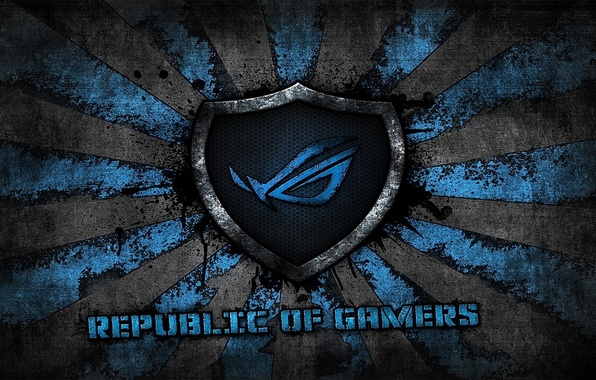 Picture logo, grey, blue, background, brand, asus, rog, republic of gamers, asus gamer