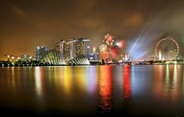 Picture the sky, night, the city, lights, holiday, wheel, backlight, Singapore, the hotel, fireworks, Ferris, Singapore, …