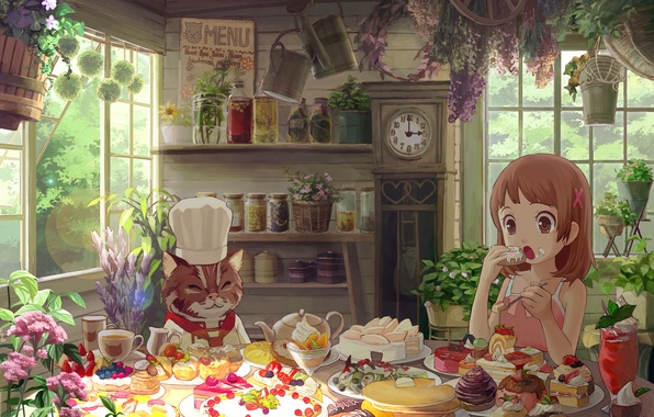 Picture cat, flowers, girl, sweets, cake, house, eating, cakes