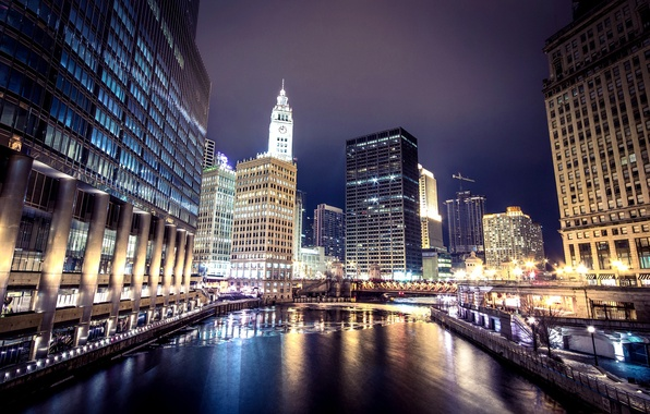 Picture winter, bridge, the city, lights, river, building, skyscrapers, backlight, Chicago, USA, USA, Il, Chicago, Illinois, …