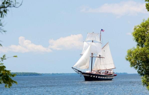 Picture SHIP, SAILS, WHITE, MAST, SAILBOAT
