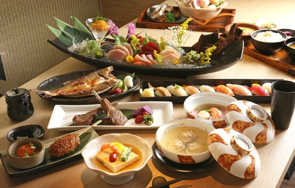 Picture fish, soup, meat, figure, sushi, seafood, Japanese cuisine, meals, cuts, tofu