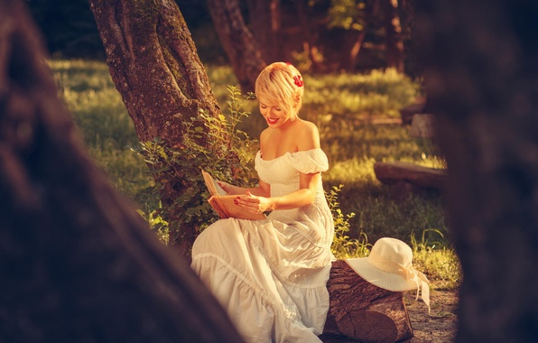 Picture summer, girl, nature, white, dress, blonde