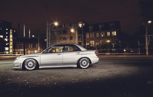 Picture the city, street, Subaru, Impreza, silver, Subaru, Impreza, silvery
