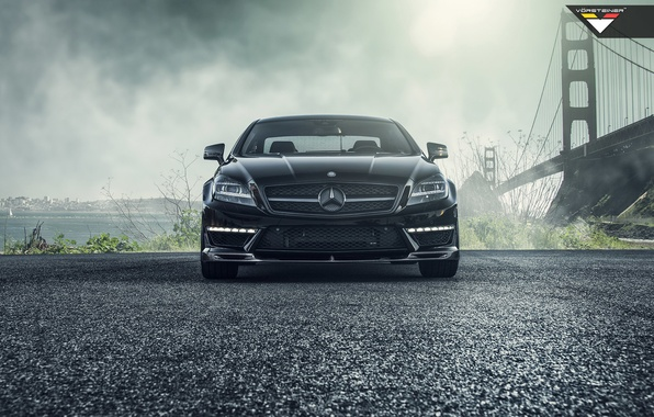 Picture car, bridge, black, mercedes-benz, Mercedes, tuning, amg, vorsteiner, cls63