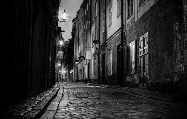 Picture road, night, the city, street, Windows, building, home, pavers, door, lights, black and white, Sweden, …