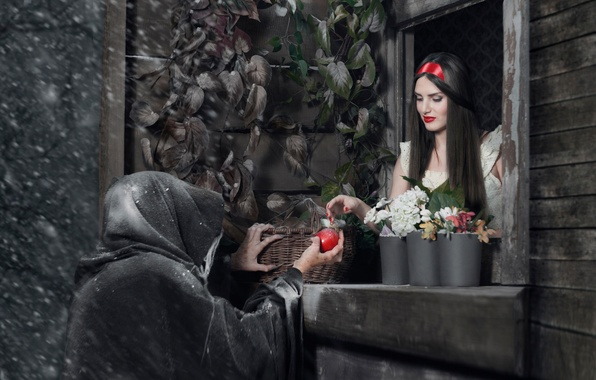 Picture Apple, witch, Snow white, fairy tale