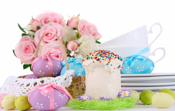 Picture flowers, roses, eggs, bouquet, Easter, basket, cake, eggs