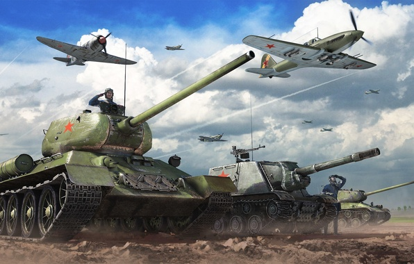 Picture The sky, Clouds, Fighter, Earth, Iron, Trunk, USSR, Aviation, Tanks, ISU-152, PT-ACS, The situation, T-34-85, …