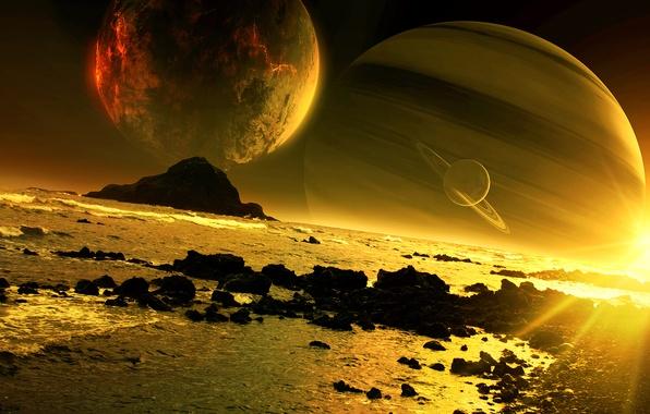 Picture sea, sunset, rocks, planet, art, satellites, QAuZ