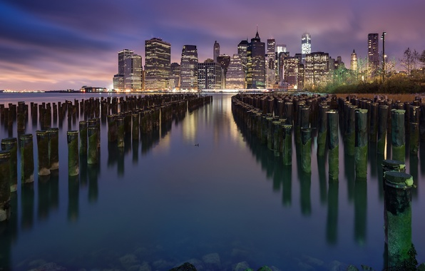 Picture the city, lights, river, building, New York, skyscrapers, the evening, USA, USA, New York, Lower …