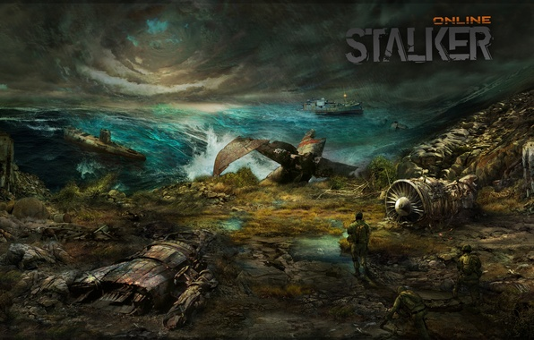 Picture sea, the sky, storm, the plane, ship, soldiers, Stalker