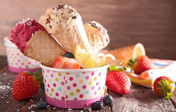 Picture berries, strawberry, ice cream, fresh, dessert, sweet, sweet, strawberry, dessert, berries, ice cream