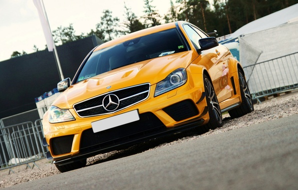 Picture yellow, tuning, mercedes, benz, AMG, Black Series, C63