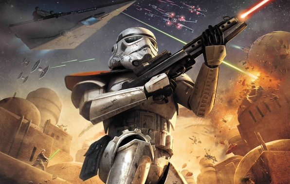 Picture weapons, ship, explosions, fighters, star wars, star wars, attack, battle, Tatooine, Battlefront