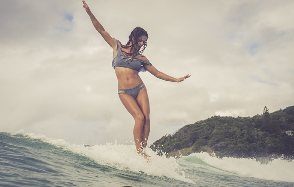 Picture girl, the ocean, wave, Surfing
